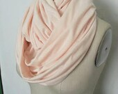 Infinity Scarf  Women Cotton Jersey Knit Pastel Cantaloupe Peach Solid Circle Loop Full Chunky