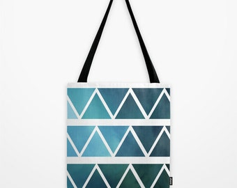 Blue Tote Bag - Book Bag - Grocery Bag - Shades of Blue Triangles - Made to Order