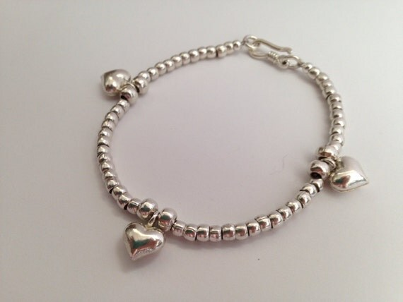 Simple and Lovely Handmade Sterling and Karen Silver Little Heart Charm Stretchy Elastic Bracelet with handmade silver beads