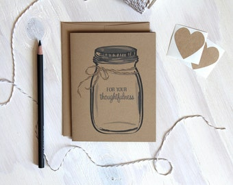 Set of 30 Rustic Kraft Mason Jar For Your Thoughtfulness Cards | Wedding Thank You Cards | Ball Jar Cards | Wedding Stationery | Stationary