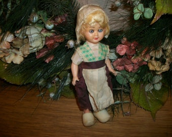 Celluloid Doll Antique 1920's Blonde Dutch Girl Toy Sleepy Eyes Jointed Molded Plastic Wooden Shoes Holland Netherlands Collectible