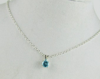 Sterling Silver Pendant/Necklace Swiss Blue Topaz Pendant/Necklace - Sterling Silver Setting with a 6mm Natural Swiss Blue Topaz Solitaire