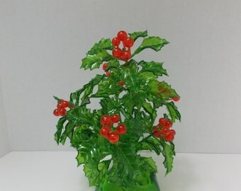 Holly Berry Bush Retro Christmas  made of acrylic  Plastic Holly Berry Bush Retro Christmas Decoration