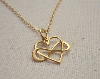 Infinity Heart Necklace 24K Gold Vermeil - Eternal Love Jewelry - Customize Personalize