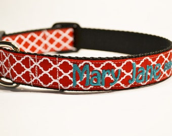 "Personalized Dog Collar - 1"" wide - Red Moroccan - Made to order"