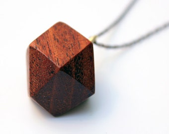 Wood pendant, wood necklace, geometric wood pendant, faceted wood pendant, red wood, geometric pendant, mahogany, mother's day, gift for her