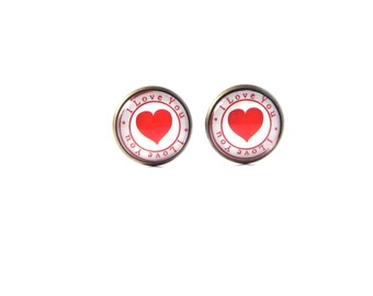 18mm I Love You Red Heart Stud Earrings, Red Heart Earrings, Red Heart Post Earrings, Red Heart Jewelry, Romantic Earrings, Romantic Jewelry