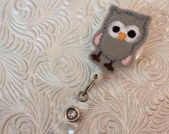 adorable owl - badge clip - nurse badge holder - name badge holder - ID holder - badge reel - felt badge holder