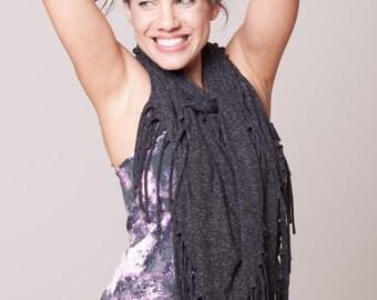 Dark Grey Fringe Scarf women Fashion Accessories