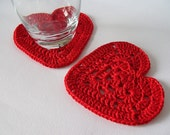 BE MY VALENTINE crocheted red granny heart coasters - Set of 2