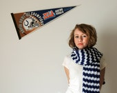 The Varsity Scarf - Blue and White Stripe Super Snuggly Chunky Hand Knit Unisex Knitwear - Indianapolis Colts - FREE U.S. Shipping
