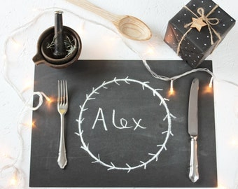 CHALKBOARD PLACEMATS. Disposable Black Chalky Sheets. Rustic Christmas Dinner Table Chalk Wrapping Paper Unique Science Wedding Dinner Table