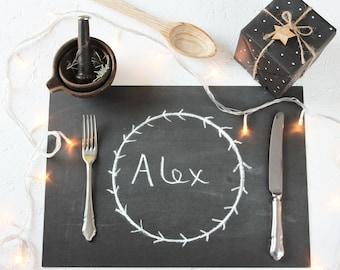 SETS DE TABLE TABLEAU NOIR. Draps jetables de calcaires noirs. Rustique Table de dîner craie emballage papier Science Unique mariage dîner Table de Noël