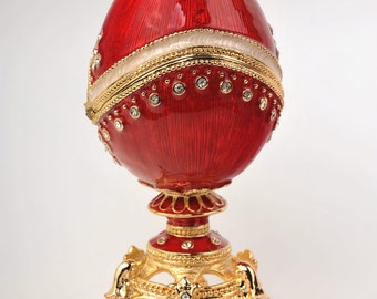 Gold and Red Faberge Egg by Keren Kopal Handmade Decorated with Swarovski Crystals Gold Plated  Enamel Painted