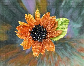 Pattern & tutorial for beaded sunflower with the leaf - beading schema