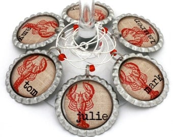 Lobster wine charms rustic bridal shower favors burlap beach wedding personalized.