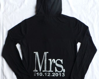 Mrs. Personalized date hoodies. Bride Hoodie. Zip Up Hoodie. Wedding Bridal Party. Maid of Honor. Bridesmaid. Wedding Clothing.