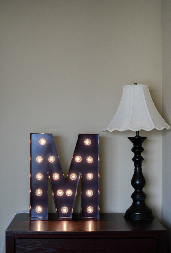 Items similar to vintage inspired marquee light letter m for Letter m home decor