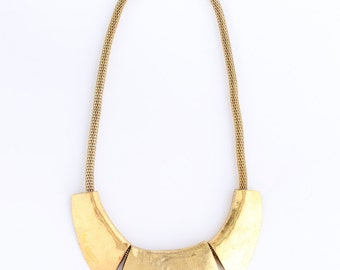 Gold statement necklace, golden bib necklace, gold chunky collar necklace