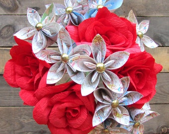 Origami Map Flowers & Red Roses Bouquet, Paper flower bouquet, Map bouquet
