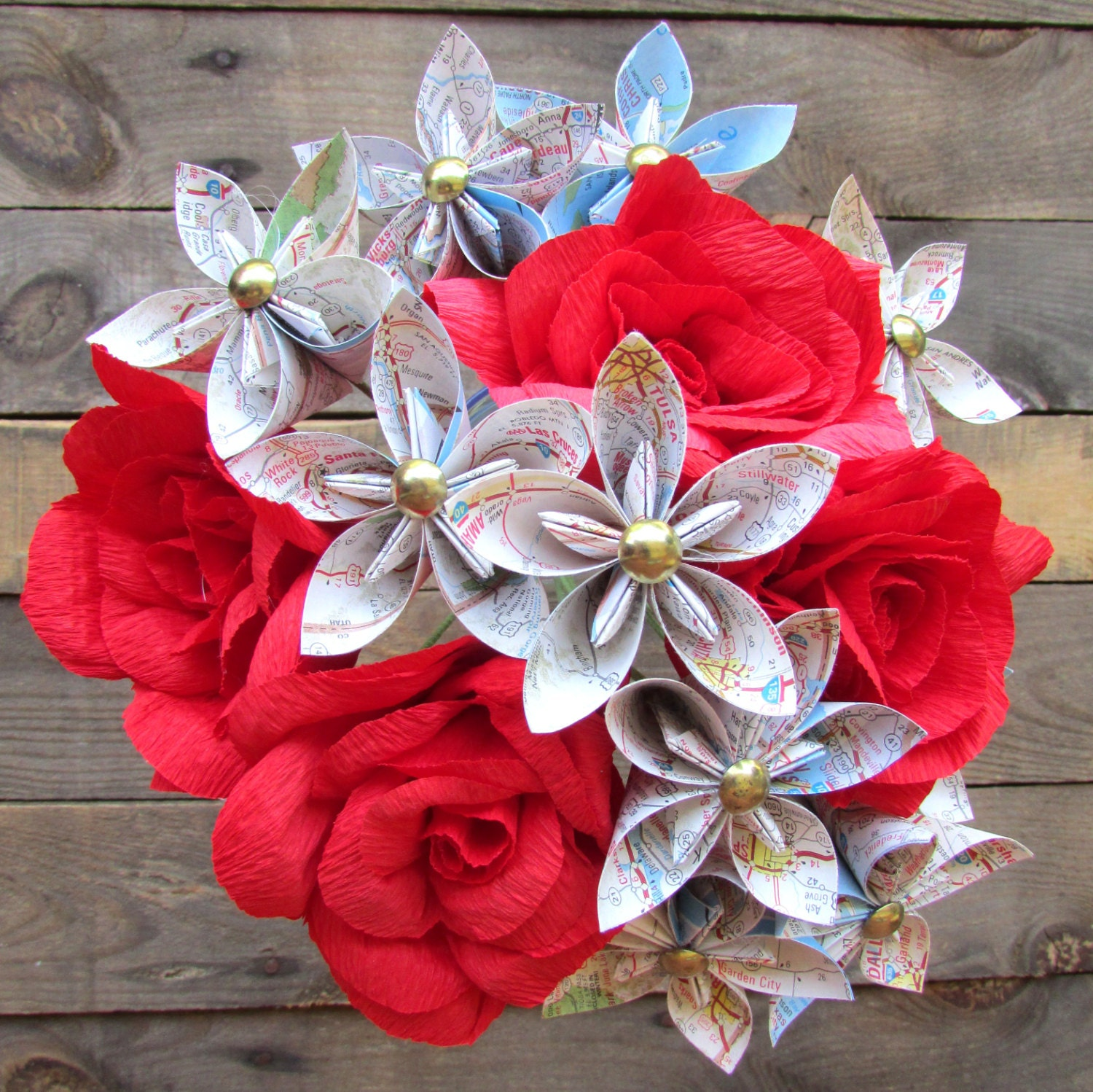 Origami Map Flowers & Red Roses Bouquet Paper flower bouquet
