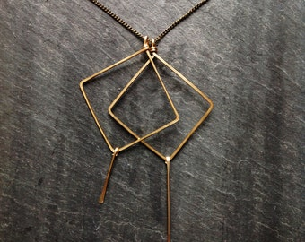 Gold Geometric, Hammered, Dual Kites Necklace, Loop Jewelry, Sterling Silver Geometric, 14K Gold-Fill, Portland Jewelry, Kite Necklace, Deco