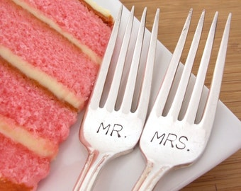Wedding forks, stamped forks, mr. mrs. forks, Hand Stamped Vintage Silverware, wedding silverware
