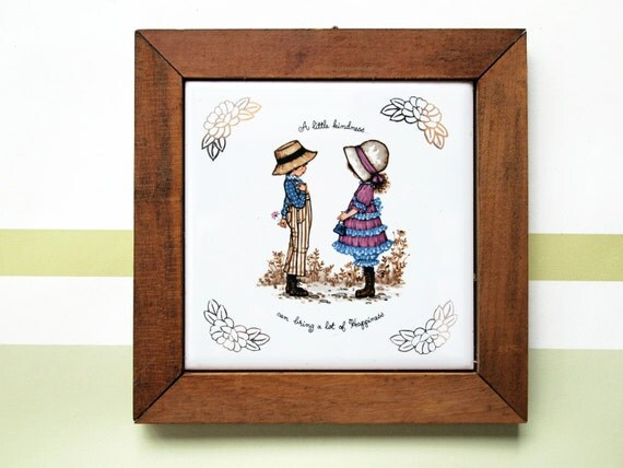 1970 Framed Ceramic Tile Trivet Petticoats And By Rubyfoot