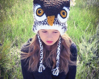 White Hoot Owl Costume Crochet Hat