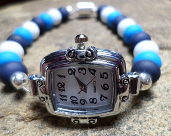 Beaded Watch Bracelet, Blue Watch, White Watch, Bead Watch, Chunky Watch, Wrist Watch