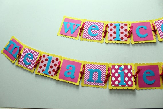 Items similar to baby shower banner welcome baby baby for Welcome home baby shower decorations