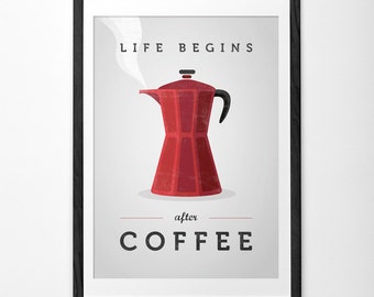Life begins after coffee. Red Coffee print Coffee poster Coffee art Quote poster teal Kitchen art Red Kitchen decor Typography poster UK