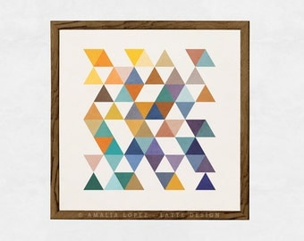 Triangles 2. Geometric print Triangles print Scandinavian print Mid century art triangles poster geometric poster mid century print