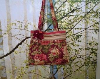 Floral Print Handbag, Floral Print Shoulder Bag,  Burgandy Rose Print Bag, Burgandy Handbag, Handmade Shoulder Bag