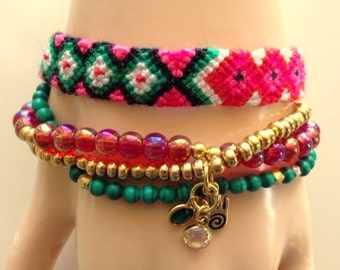 Friendship Bracelet With Rose, Malachite, And Gold Beads And Charms - Multi - 4 Strands & Hamsa Charm