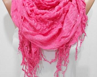 Hot Pink Scarf Shawl, Ruffle Cowl Scarf, Long Scarf, Women Scarves, Shawl Scarf, Gift Ideas For Her, For Mom, Fashion Accessories, ScarfClub