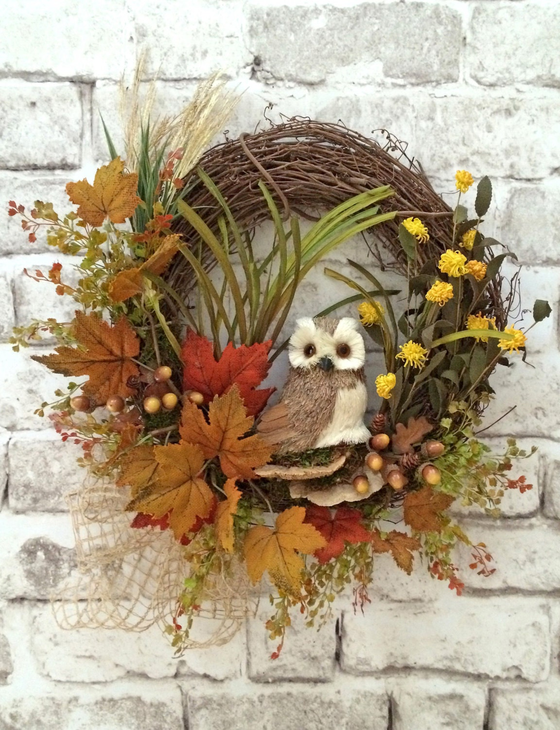 Owl wreath fall wreath for door autumn wreath front door Fall autumn door wreaths