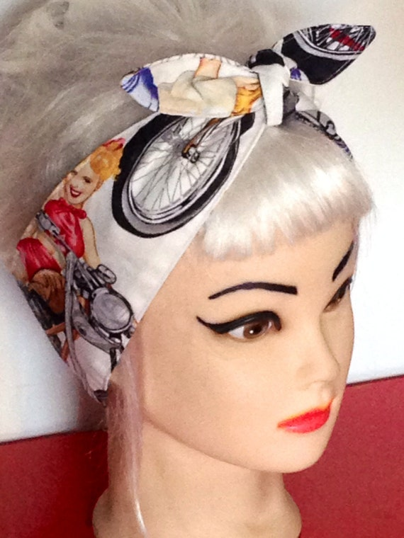 50s Pinup Girls Bikes Print White Multicolor Headband Pin-up Vintage ...