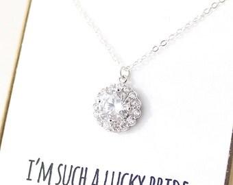 Silver Cubic Zirconia Halo Necklace - CZ Necklace - Delicate Bridal Necklace - Simple Bridal Necklace - Silver Bridesmaid Necklace - Z8