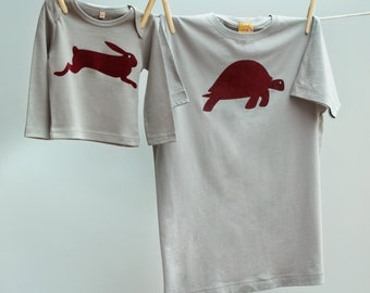 Matching Father T Shirt Hare and Tortoise Twinset for Dad and Son or Daughter - Grey organic cotton