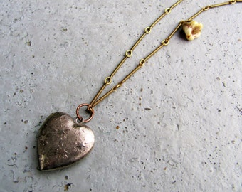 Silver Heart Locket on Brass Bar Chain/Heart Necklace/ Silver Locket/Locket Necklace