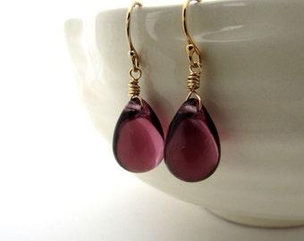 Amethyst purple glass earrings, Czech glass jewelry, gold fill jewelry, aubergine teardrops, dark amethyst earrings, plum purple teardrop