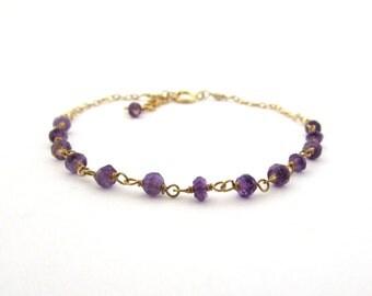 Gold amethyst bracelet, dark purple amethyst jewelry, bohemian jewelry, February birthstone bracelet, amethyst birthstone, 7 inch adjustable