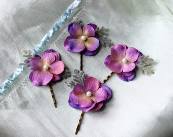 Purple flower bridal bobby pins, purple flower wedding pins, pearl bridal pins, bridesmaid pins, flowergirl pins, flower bobby pins, hair