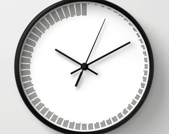 Simple Modern Wall Clock, Black And White, Minimal Sixty Minutes Clock,  Housewarming Gift