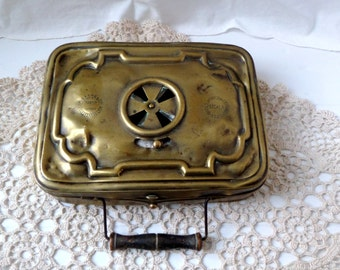 French antique Foot Warmer, Vintage brass heater