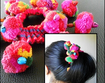 Colorful Pom Poms Tribal hair Accessory for Ponytail - Thailand Handmade. JH1009