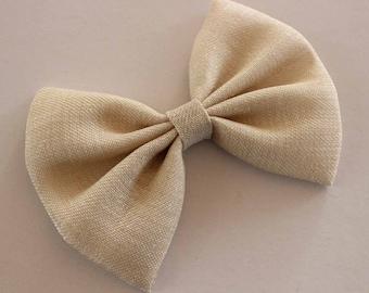 """5"""" beige/khaki hair bow, linen-like hair bow, women bow, beige hair bow, off white, light khaki bow, hairbows, big hair bow"""