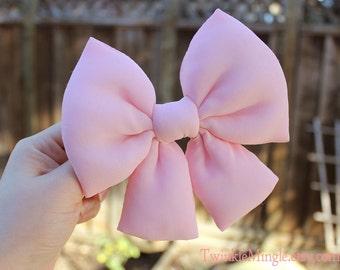 "5.25"" light pink hair bow, stuffed hair bow with tails, big hair bow, Fairy Kei hair bow, kawaii hair bow, cute hair bow, sweet bow barrette"