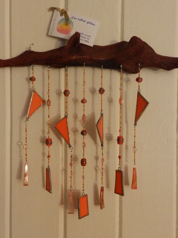 Stained glass driftwood windchime by sunwindglass on etsy for How to make stained glass in driftwood